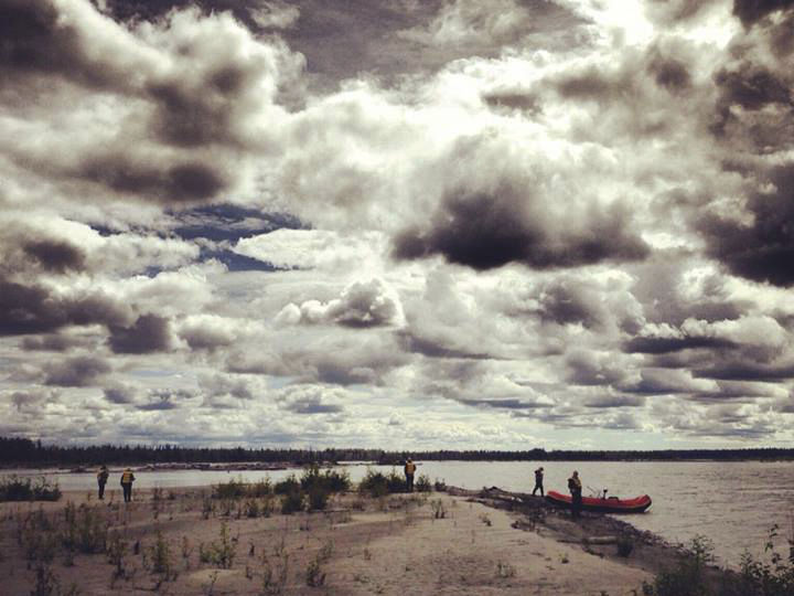 Clouds over a sandbar on the Susitna River