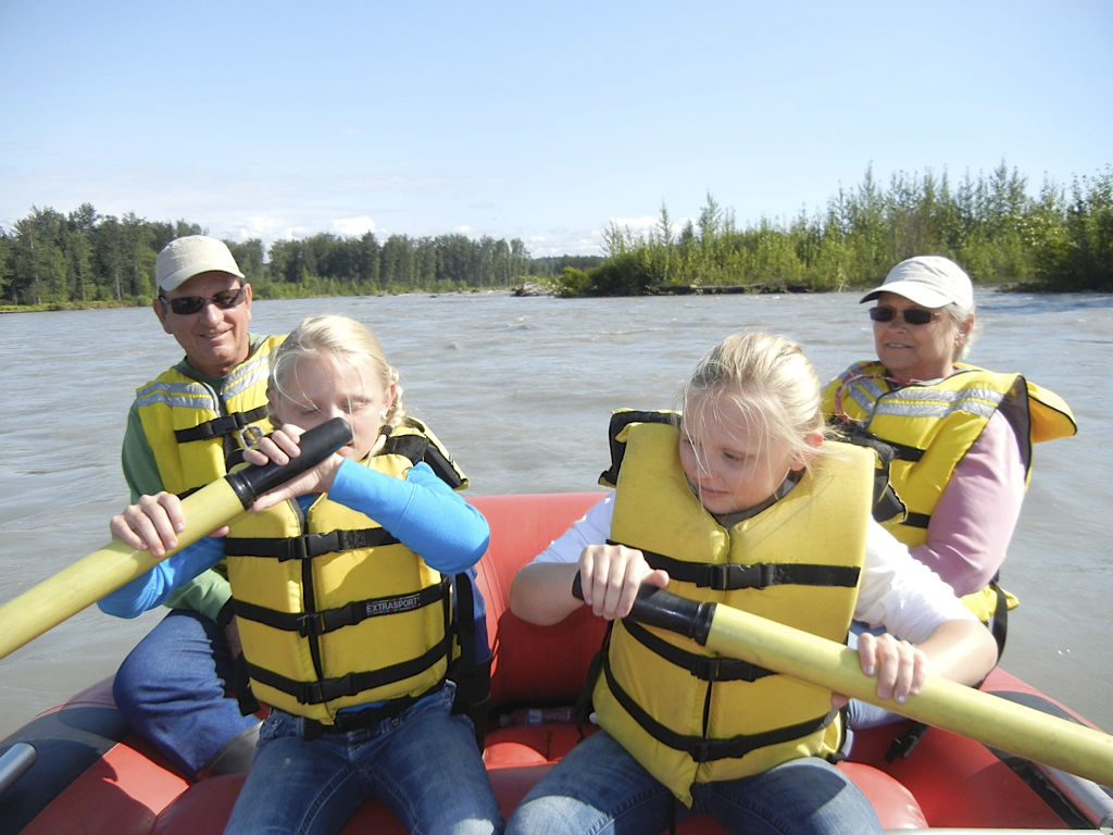 Children rafting down the Talkeetna river